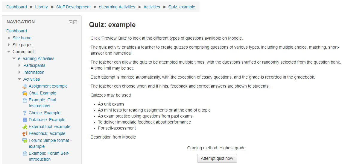 MULTIPURPOSE Moodle quiz | eLearning Activities Browser