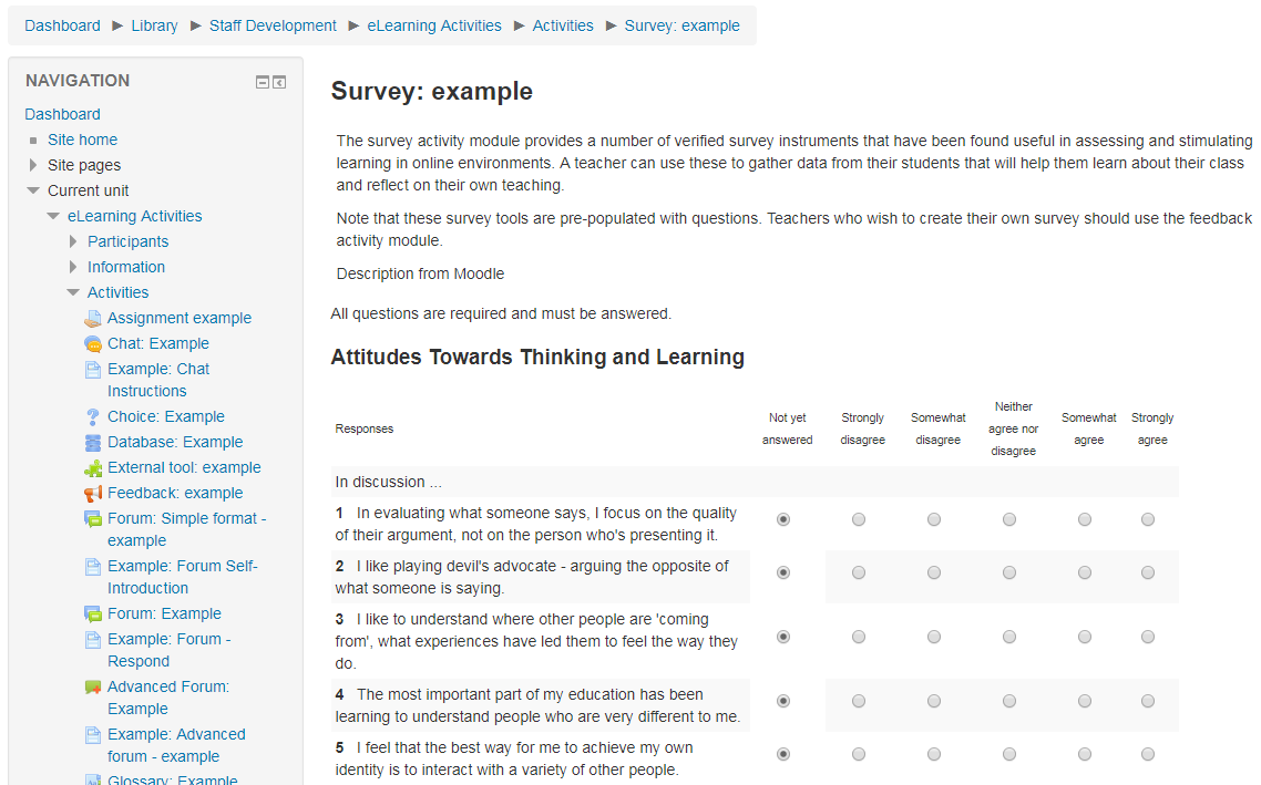 SURVEY Moodle survey | eLearning Activities Browser